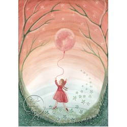 Kaart Girl with moon balloon