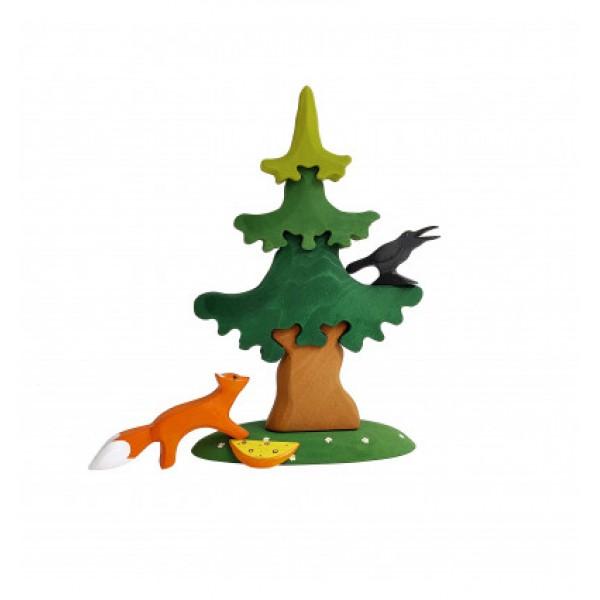 Bumbu Toys Grote dennenboom met raaf en vos - SET