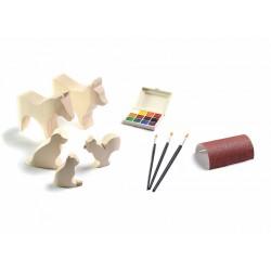 Houten figuren om te schilderen - Complete set