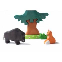 Grote dennenboom met wild zwijn en vos - SET