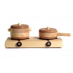 Keuken speelgoed: Kookplaat met pannen - SET