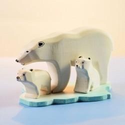 Ijsberen familie met ijsschots - SET