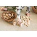 Grapat Nins, ringen & munten, naturel hout