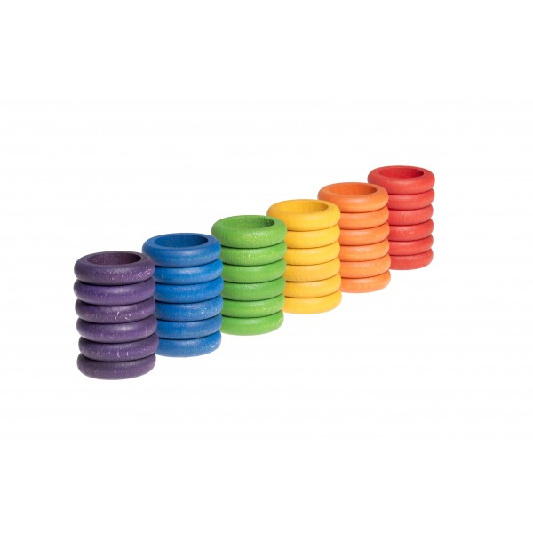 Grapat 36 Houten Ringen (6 kleuren)