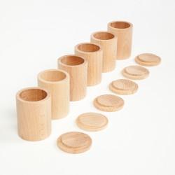 Naturel houten bekers met deksel