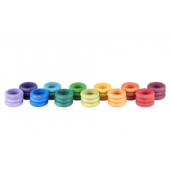 Grapat 36 Houten Ringen (12 kleuren)