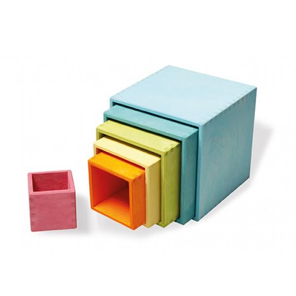 Kubus regenboog kistjes- pastel kleur