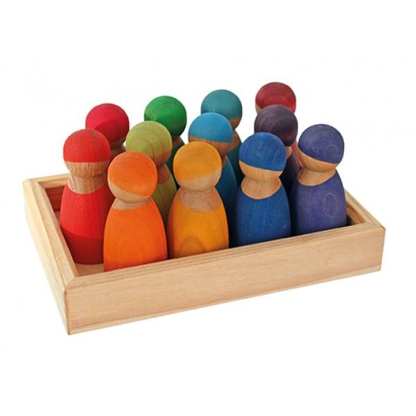 Regenboog vrienden 12 in kist, speciale editie Kersenhout
