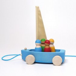 Zeilboot of Strandzeiler groot met touw