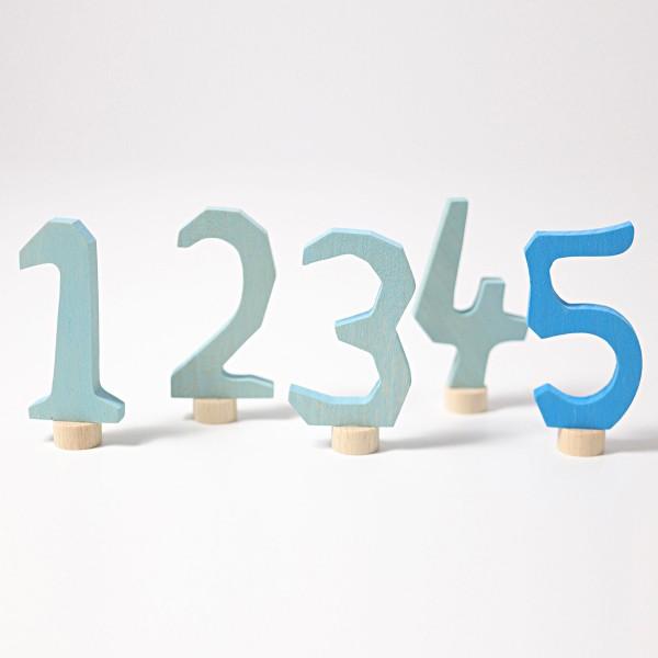 Grimm's Steker cijfers 1 - 5 blauw