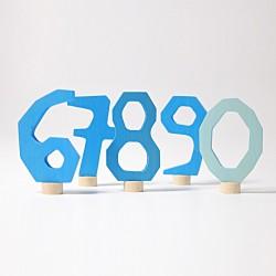 Steker cijfers 6 - 0 blauw