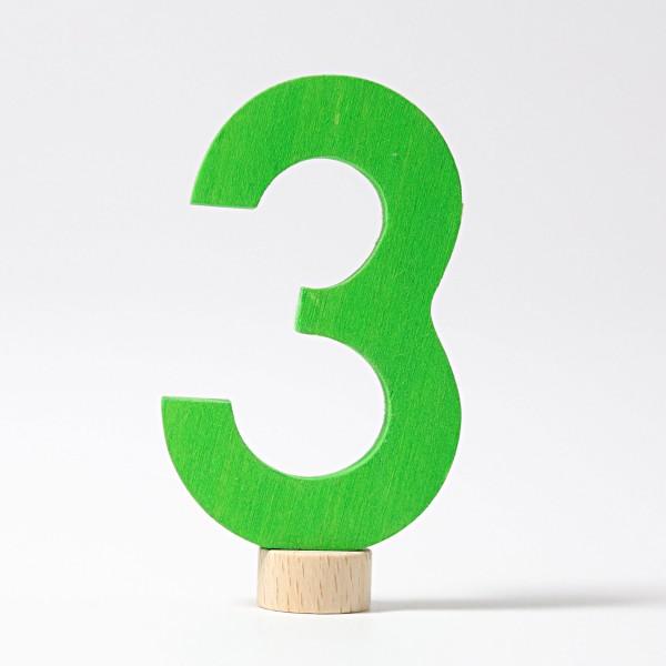 Grimm's Steker getal cijfer 3 strak