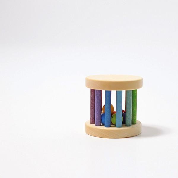 Grimm's Mini babyroller met bel in regenboog kleuren