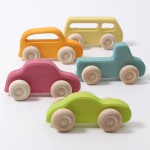 Grimm's Houten auto's pastel Slimline - 5 st