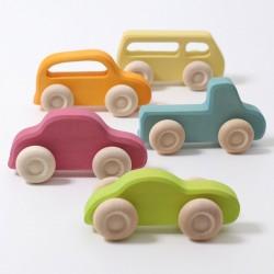 Houten auto's pastel Slimline - 5 st