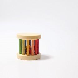 Mini babyroller met bel en kralen in regenboog kleuren
