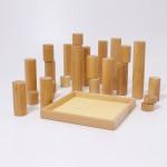 Grimm's Blokkenset cilinders groot naturel