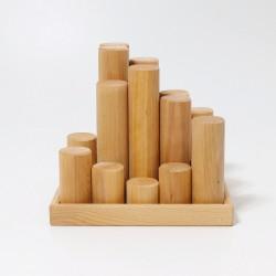 Blokkenset cilinders groot naturel - NIEUW