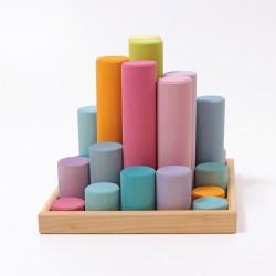 Blokkenset cilinders groot pastel - NIEUW