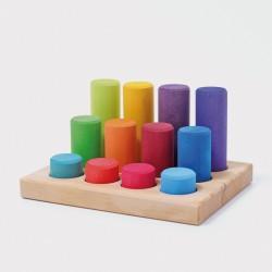 Stapel en sorteerspel: Rollers regenboog in sorteerbord - NIEUW 2020