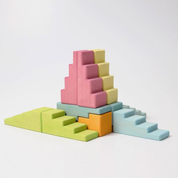 Grimm's Blokken set trappen en daken pastel