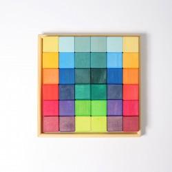 Blokkenset vierkant regenboog