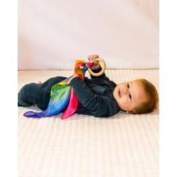 Speelzijden en houten bijtring regenboog