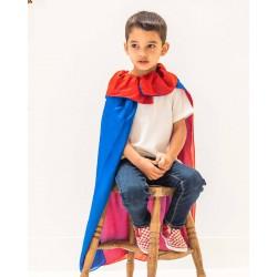 Speelzijden cape koningsblauw/rood