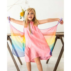 Speelzijden Sprookjesjurk roze/regenboog