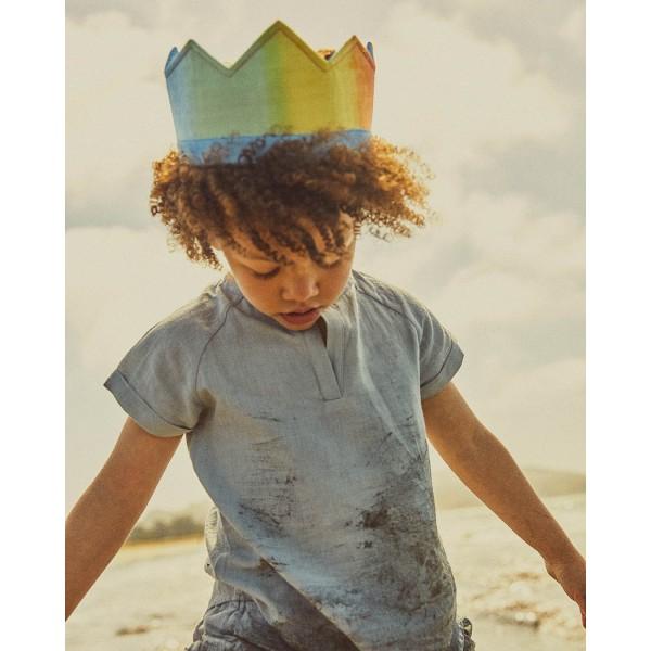 Sarah's Silks Speelzijde Omkeerbare kroon regenboog/blauw