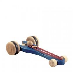 Auto met elastiek aandrijving blauw