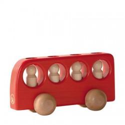 Bus rood met 4 mannetjes