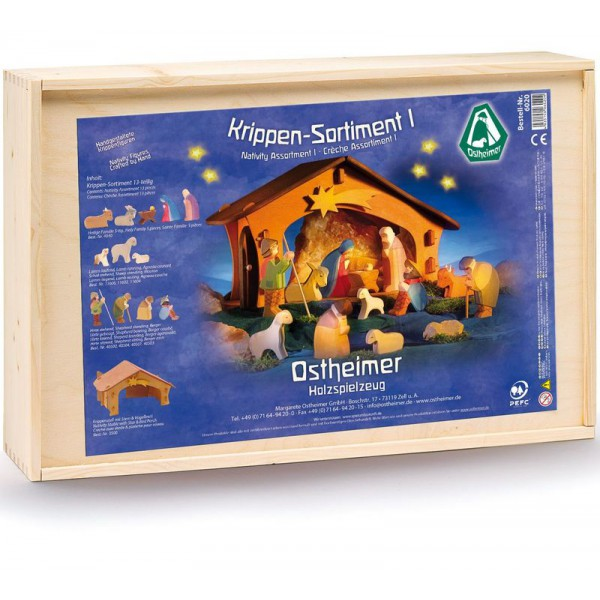 Ostheimer Houten kerststal compleet classic I