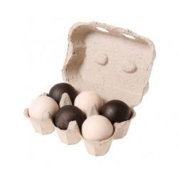 Houten ballen monochrome zwart-wit 6 stuks