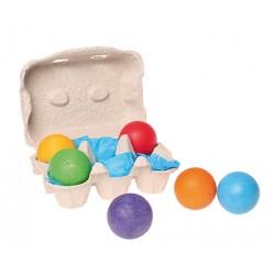 Houten ballen 6 stuks