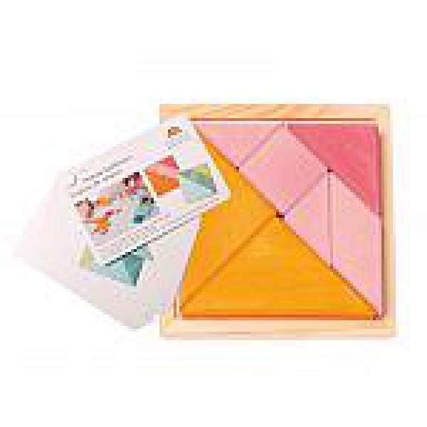 Grimms Tangram mini oranje roze met voorbeeldboekje