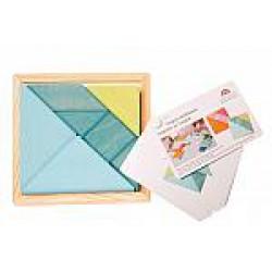 Tangram mini blauw groen met voorbeeldboekje