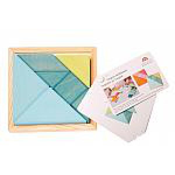 Grimms Tangram mini blauw groen met voorbeeldboekje