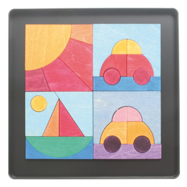 Grimms Magneetpuzzel Auto Boot Zon