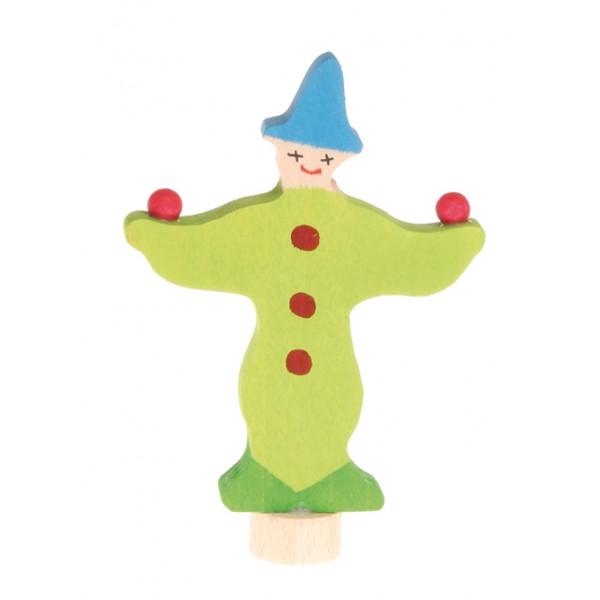 Grimms Steker jongleur clown groen