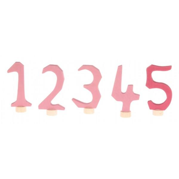Grimms Steker cijfers 1 - 5 roze