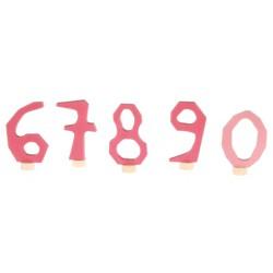 Steker cijfers 6 - 0 roze