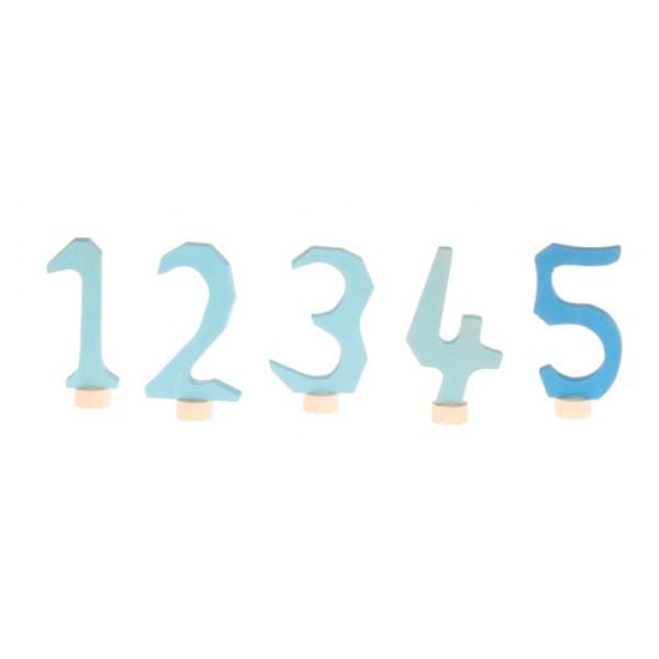 Grimms Steker cijfers 1 - 5 blauw