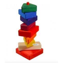 Blokken gekleurd bont op stok