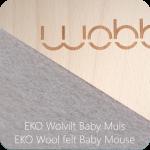 Wobbel Original blank hout gelakt met vilt baby muis